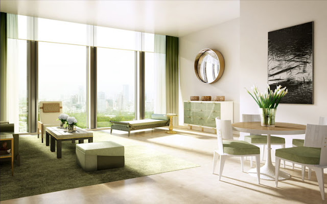 Rendering of the living room in another future apartment in Maha Nakhon