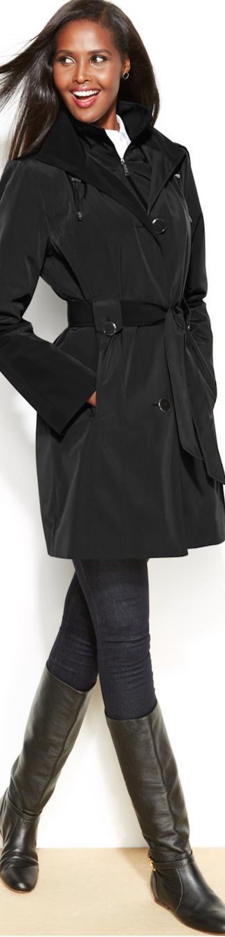 London Fog Belted Trench Coat black
