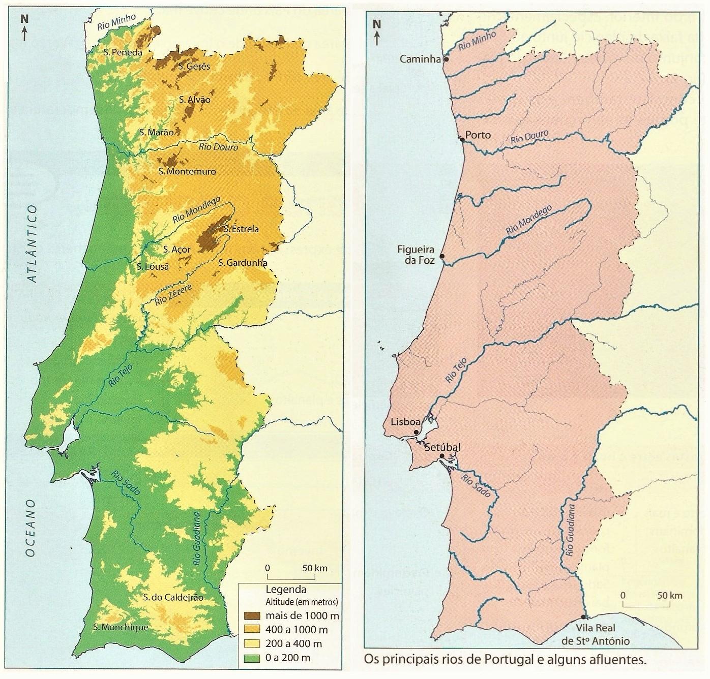 mapa de portugal continental com os rios Historiando: O relevo e os principais rios de Portugal mapa de portugal continental com os rios