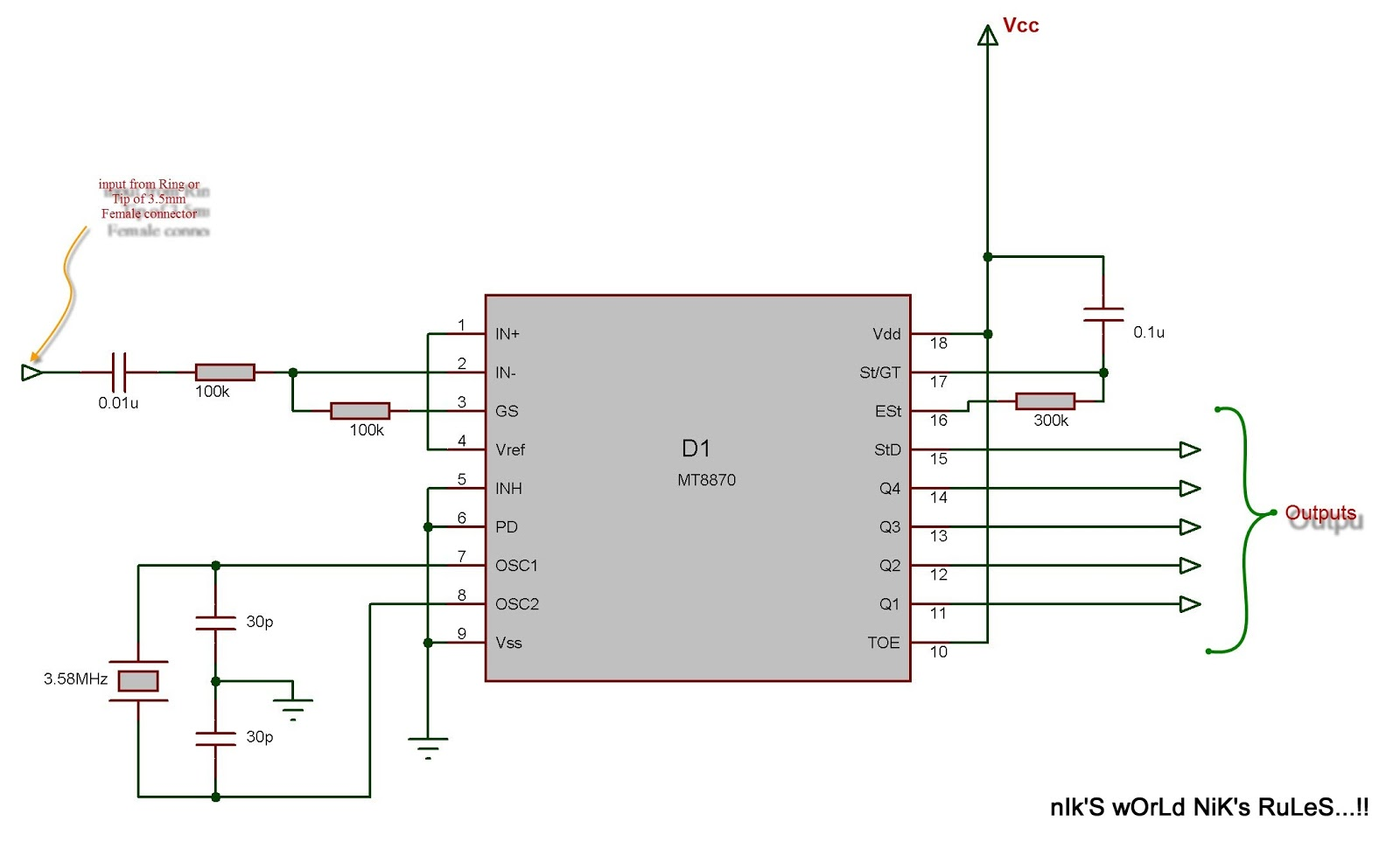 Final Year Project Development Of Cellphone Operated Landrover Dtmf Decoder Touch Tone Decoding Based On A Mt8870 The Circuit Diagram