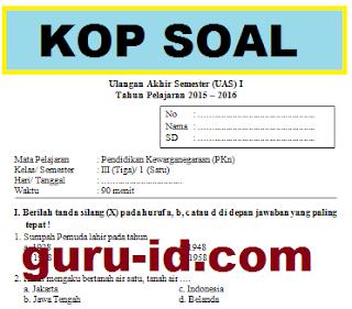 gambar soal ulangan PKN kelas 3 SD