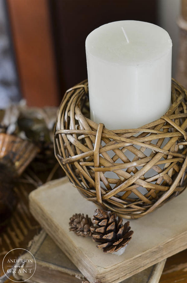allen + roth wicker candle holder