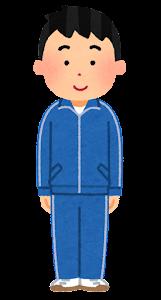 ジャージを着た男性のイラスト(青)