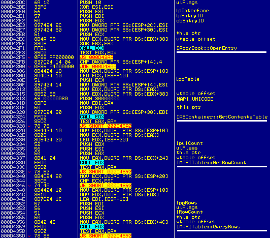 Assembly language snapshot showing MAPI method calls.