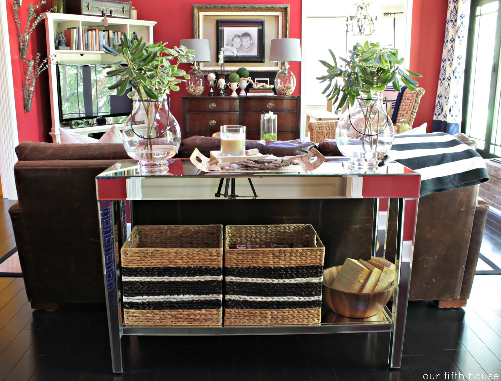 living room console tables mirrored decorate grey walls my new table from you ll never guess where our