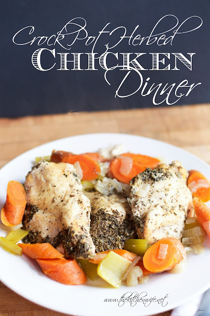The finished crock pot herbed chicken dinner, on a white plate, with the title above it.