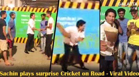 Sachin Tendulkar plays surprise Cricket on Road with Metro workers -Viral Video | Road Cricket