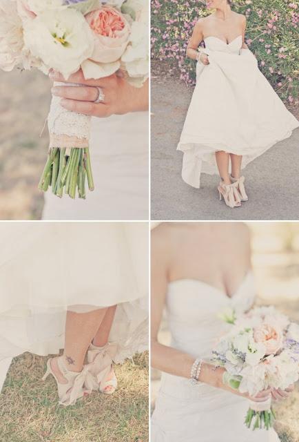 mariage pêche lavande bouquet mariée