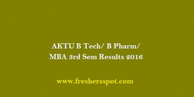 AKTU B Tech/ B Pharm/ MBA 3rd Sem Results 2016