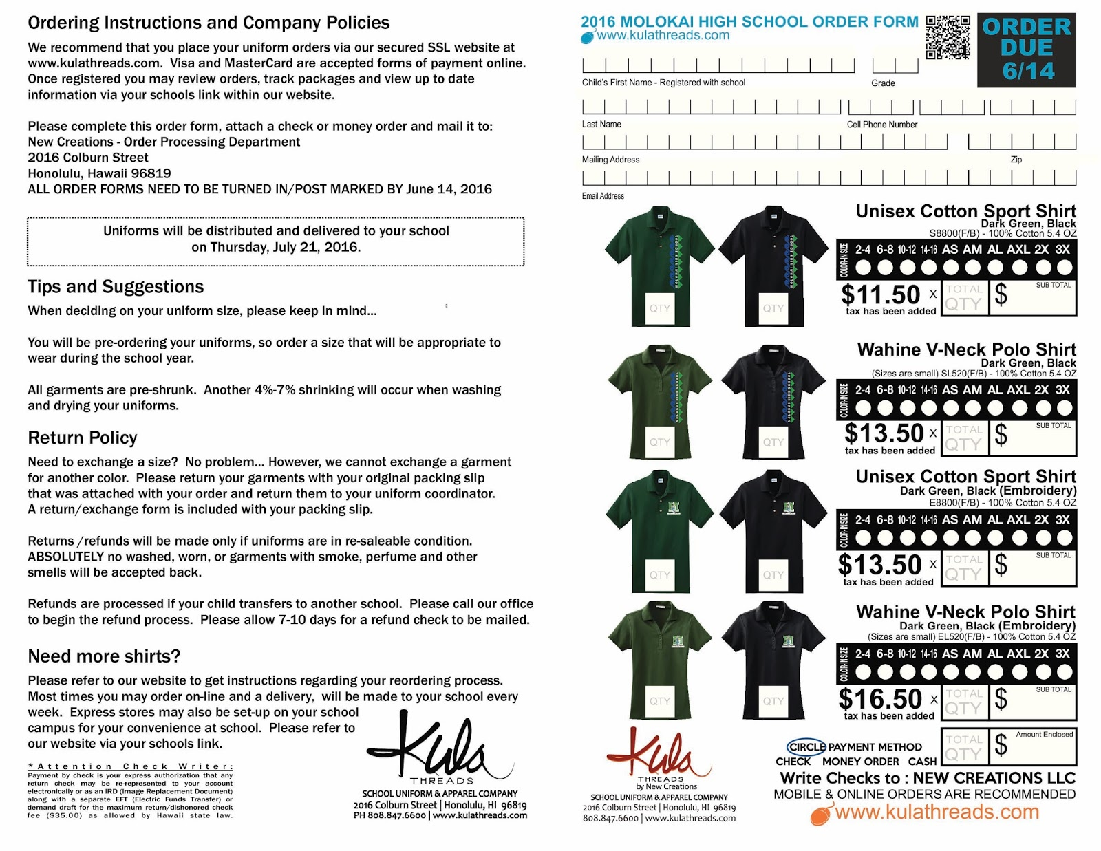Molokai High School Notifications Uniform Policy Letter