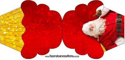 Tarjeta con forma de cupcake de Santa Claus en Rojo y Dorado.