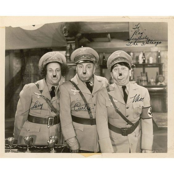"Three Stooges signed photo from comedy ""I'll Never Heil Again,"" 11 July 1941 worldwartwo.filminspector.com"