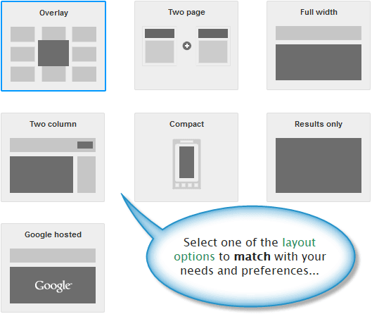 Custom search engine layout options.