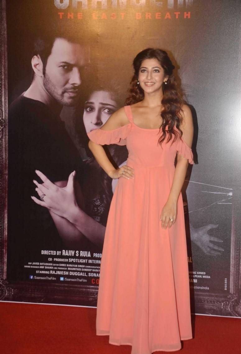 Beautiful Indian Actress Sonarika Smiling Stills At Movie Trailer Launch In Pink Dress