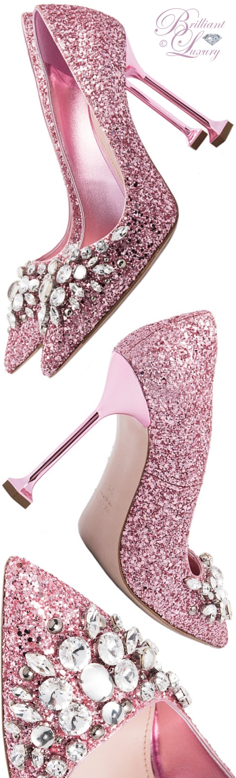 Brilliant Luxury ♦ Sophia Webster pink glitter swarovski pumps