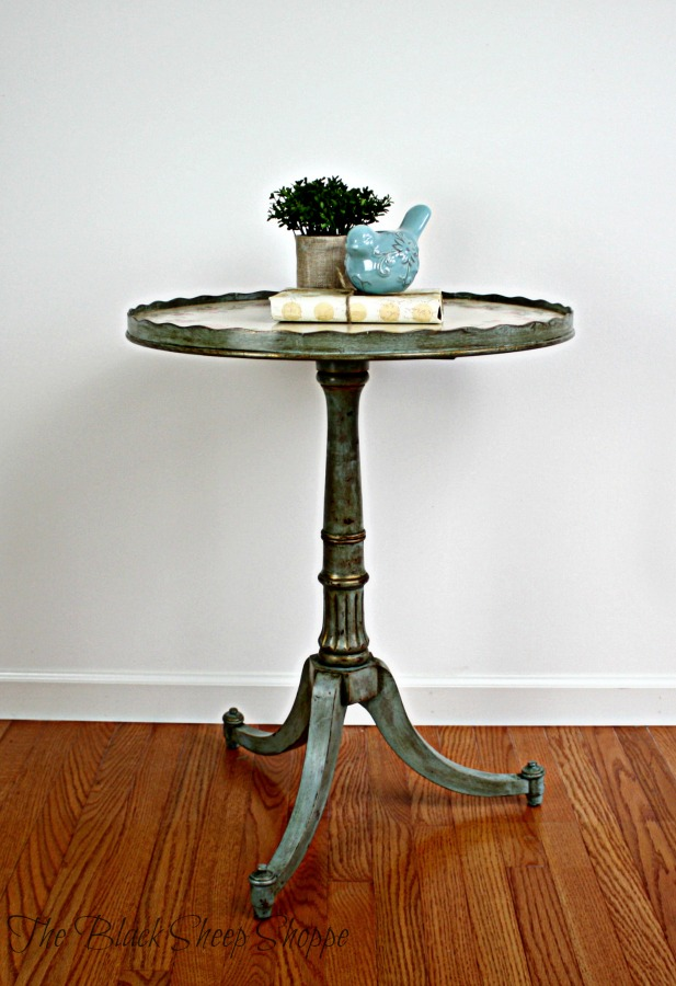 Pedestal table painted in Duck Egg Blue.