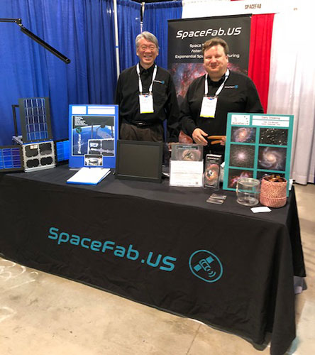 SpaceFab.US shows off their 12U Cubesat telescope observatory at the 231st AAS meeting