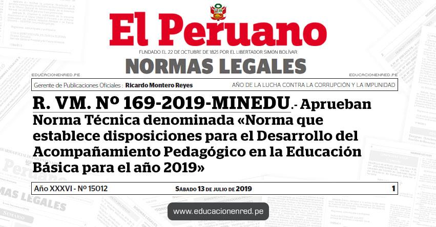 R. VM. Nº 169-2019-MINEDU - Aprueban Norma Técnica denominada «Norma que establece disposiciones para el Desarrollo del Acompañamiento Pedagógico en la Educación Básica para el año 2019» www.minedu.gob.pe
