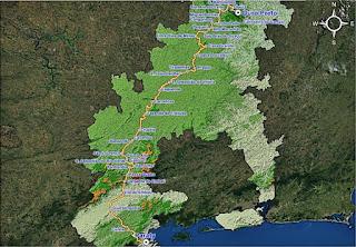 Mapa do Caminho do Caminho Velho.  Fonte: IER.