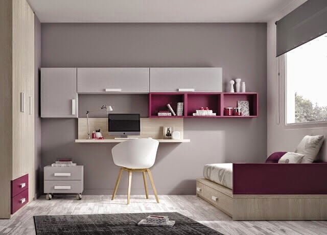 Dormitorio juvenil gris y berenjena - Habitaciones juveniles modernas ...