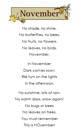 Adventures in Room 111: Spelling Poem #10: NOvember
