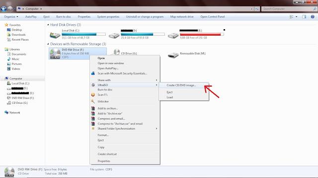 "Jika sudah, klik kanan pada ikon/filenya-klik  UltraISO-Terus klik ""Create CD/DVD image""."