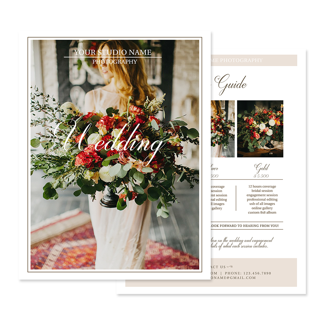 Wedding Photography Pricing Template Photographer Price List Guide
