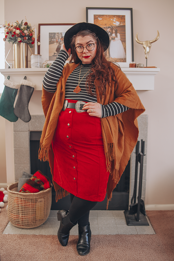 brown shawl, black fedora, striped mock neck, orange midi skirt, winter outfit