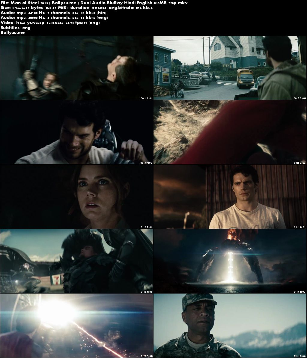 Man of Steel 2013 BluRay 800MB Hindi Dual Audio 720p Download