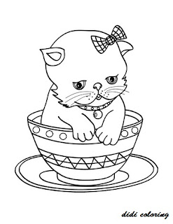 printable little kitten in a cup coloring page