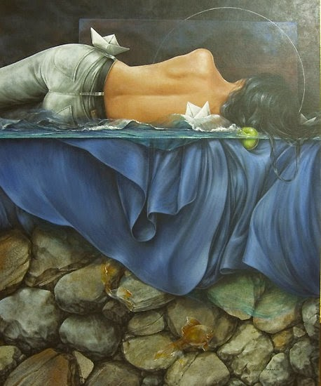 Dormindo com Pequeno Mar Noturno - Chelìn Sanjuan e todo encanto em suas pinturas ~ Pintor espanhol
