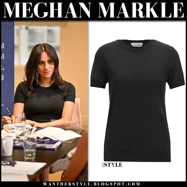 Meghan Markle in black knit short sleeve sweater from boss royal family fashion december 5