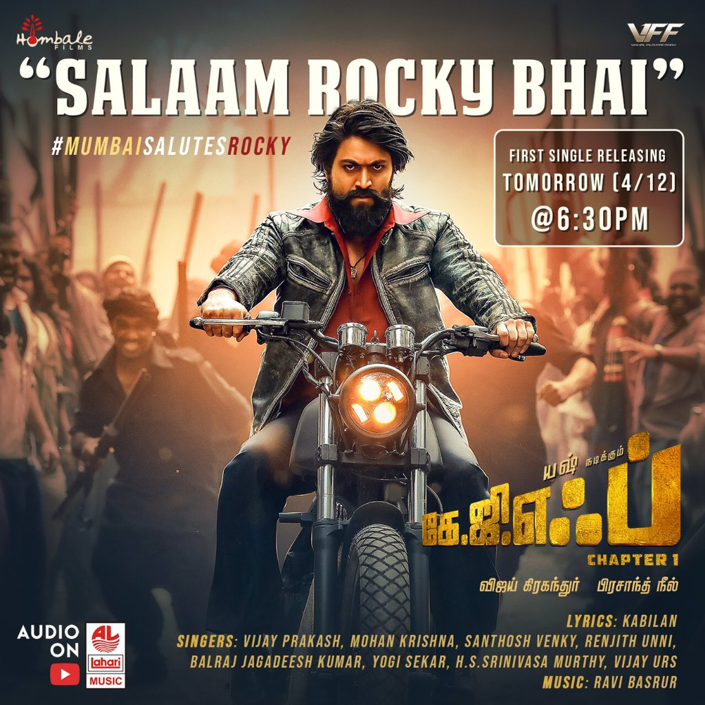 Rocking Yash in KGF : Salaam Rocky Bhai releasing tomorrow @ 6:30 PM!