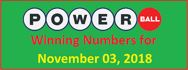 PowerBall Winning Numbers for Saturday, 03 November 2018
