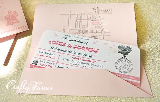 Wedding Card Malaysia Crafty Farms Handmade Pink Retro Movie