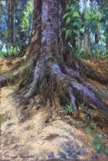 soft pastel painting of exposed roots by Manju Panchal