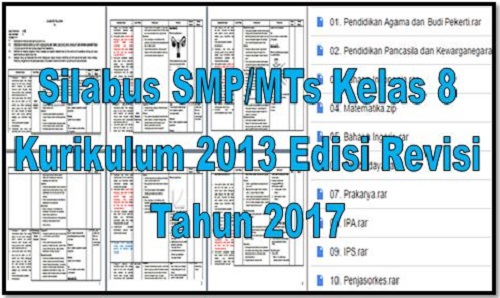 Download Silabus SMP/MTs Kelas 8 Kurikulum 2013 Edisi Revisi Tahun 2017