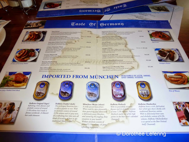Menu of a German restaurant