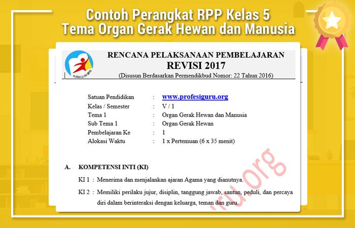 Contoh Perangkat RPP Kelas 5 Tema Organ Gerak Hewan dan Manusia