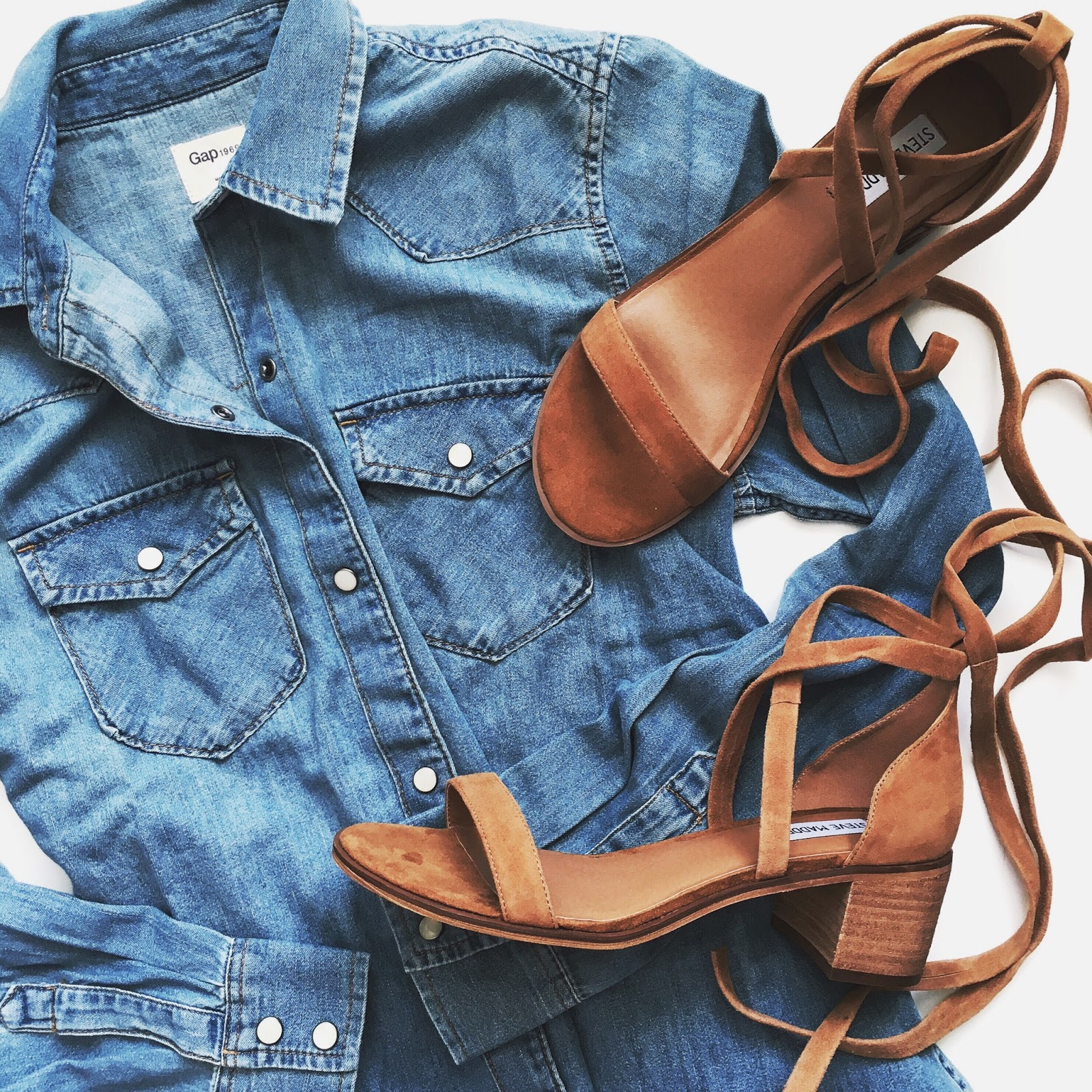Gap western denim shirt and Steve Madden cognac suede sandals