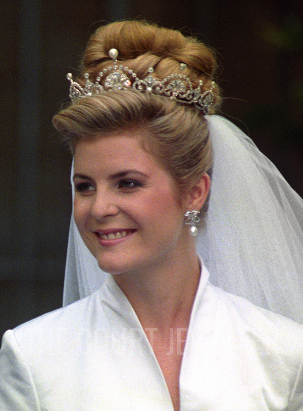 The Countess Of Snowdon Wears Lotus Flower Tiara On Her Wedding Day 8 October 1993 Photo Licensed To Court Jeweller Do Not Reproduce