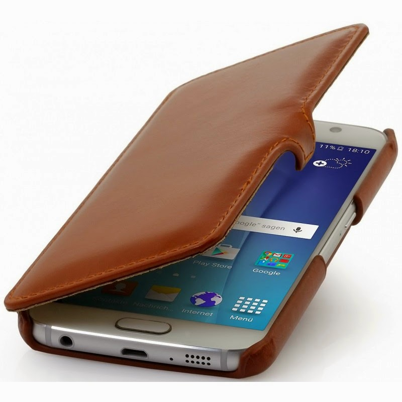 custodia Galaxy S6 StilGut in pelle, book type cognac