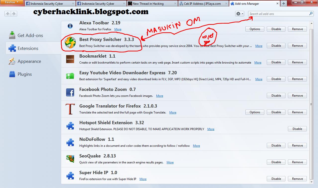 Sembunyikan ip adress Menggunakan Mozilla
