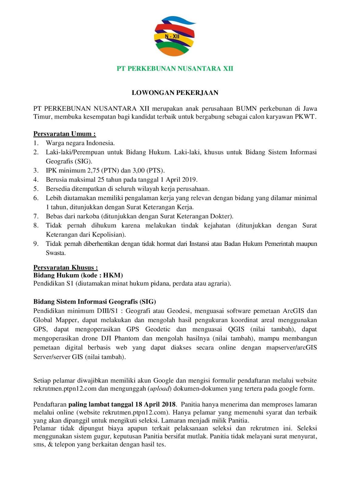 Rekrutmen PT Perkebunan Nusantara XII (Persero) April 2019