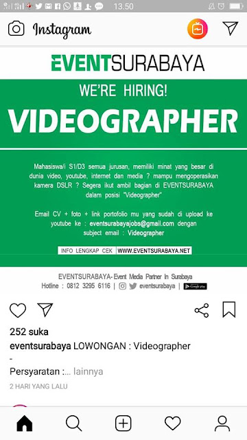 lowongan kerja vidieographer event surabaya