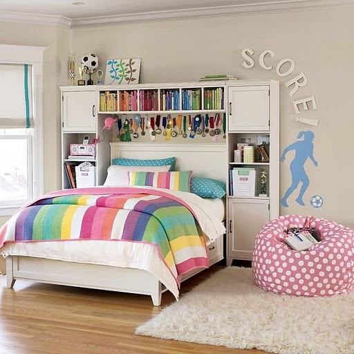 teen bedroom childrens girls idea colorful mix bed ivory purple pink yellow green interesting color theme design decor stylsih chic pretty inspiration