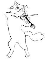 Keman çalmaya kedi boyama sayfası