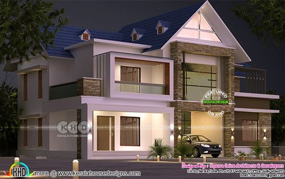 Night view rendering of mix roof modern house