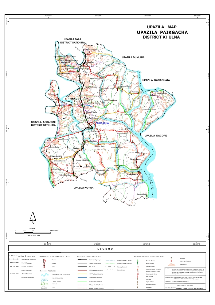 Paikgacha Upazila Map Khulna District Bangladesh