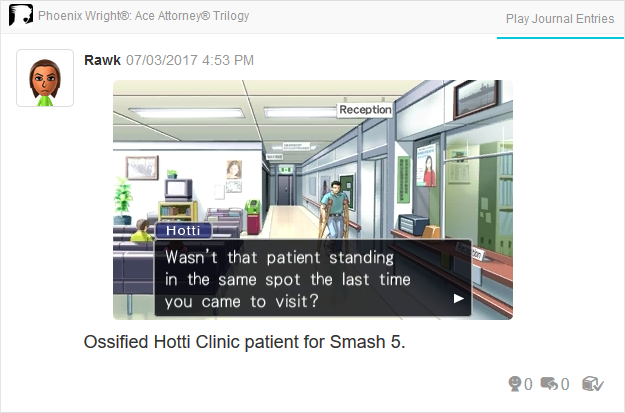 Phoenix Wright Ace Attorney Justice For All Hotti Clinic patient standing in the same spot